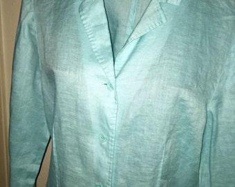 Light Aqua colored 100% LINEN Top / blouse / shirt Sz M