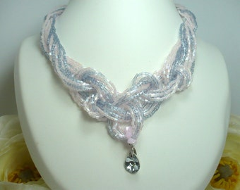 Necklace grey multi-strand Pearl and pale pink pearl rockery Crystal hand woven