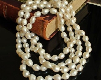 Antique Long Culutured Pearl Fabulous Necklace