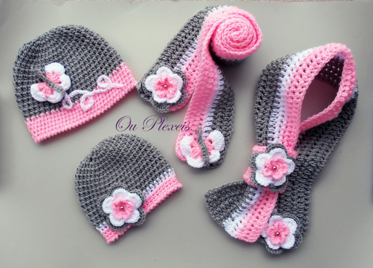 crochet set hat and scarf crochet baby girl hat and scarf. Black Bedroom Furniture Sets. Home Design Ideas
