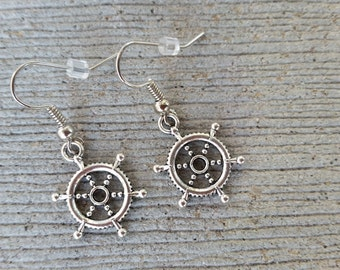 Silver Ship's Wheel Earrings