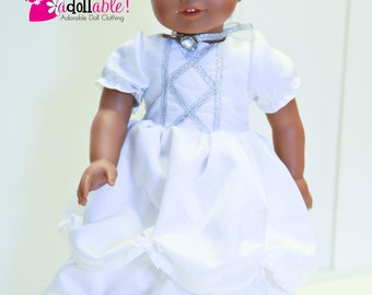 American made Girl Doll Clothes, 18 inch Girl Doll Clothing, White Satin Belle Ball Gown made to fit like American girl doll clothes