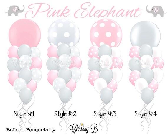 pink and gray giant balloon bouquet pink elephant theme rh etsy com Sun Clip Art Birthday Balloons Clip Art