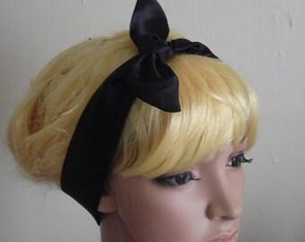 Glossy Satin Hair Scarf Rockabilly Headband Black Head Scarf 50's Head Wrap Fashion Hair Accessories