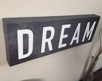 DREAM Wall Art Canvas, Wall Decor, Home Decor, Canvas Art, Dream Print, Wall Sign, Home Signs, Kids Decor, Kids Room, Office Decor