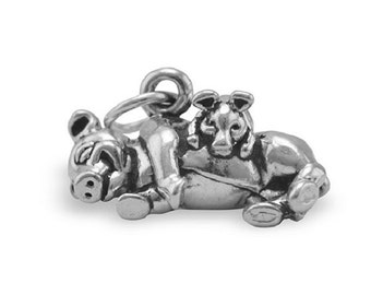 Pig Hog Charms - Mama Pig & Baby Piglet Charm Jewelry in Oxidized .925 Sterling Silver