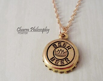 Beer Bottle Cap Necklace - Gold Bottle Cap Charm Necklace - Antique Gold Pewter Jewelry