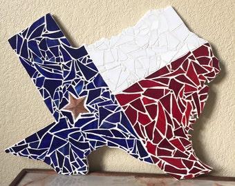 Mosaic Texas - Mosaic Wall Art - Handmade - Red, White, and Blue!!