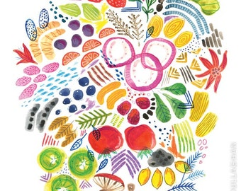 Bright Fruits and Veggies Print