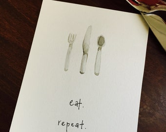 Eat Repeat Fork Knife Spoon Kitchen Watercolor Painting Postcard Art