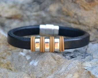Black Leather Bracelet/Antique Silver Magnetic Clasp/Antique Silver Spacer/Men's Bracelet