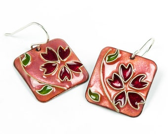Pink earrings with cherry blossoms