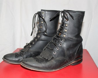 Vintage Women's Justin lace up Boots rugged looking