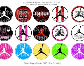 INSTANT DOWNLOAD - Jordan Inspired Bottle Cap Images 4x6 - One Inch - 300 dpi
