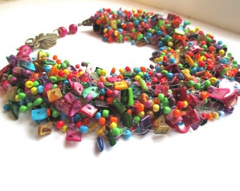 Colorful airy beaded necklace – multicolor seed bead necklace with mother of pearl – air multi strand colorful beaded necklace