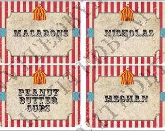 Rustic Circus Part Labels Name Cards
