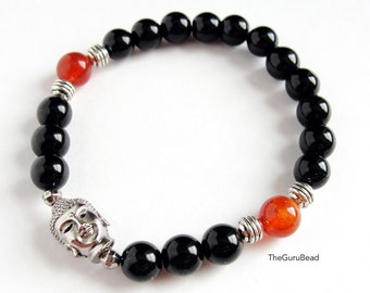 Mens Buddha Bracelet, Fire Agate Bracelet, Jasper Bracelet, Women Bracelet, Yoga Mala Bracelet, Prayer Bead, Meditation Bracelet, Power bead