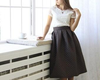 Winter skirt/midi skirt/warm skirt/vintage skirt