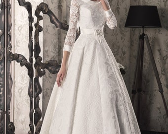 Princess Elegant, White/Ivory Wedding Dress with Lace Sleeved, Designer Wedding Gown, Lovely Back, A line, Handmade, Lace up, 011
