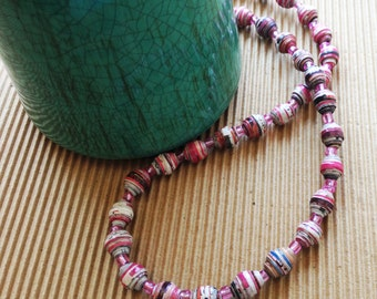 Recycled Paper Necklace in Pink