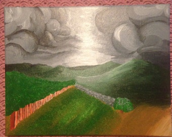 Cloudy landscape original acrylic painting 11x14
