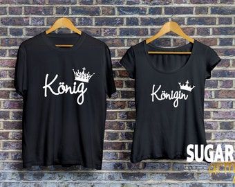 König Königin Pärchen T-shirt,  KING and QUEEN set of t-shirts for couples, Pärchen-T-shirt, Shirts für Paare, Paare Shirt, 100% Cotton tees
