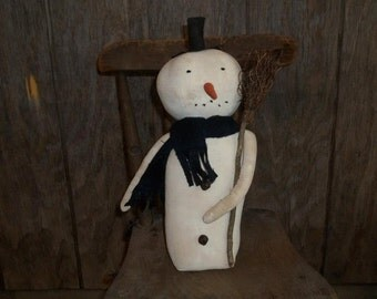 Primitive Handmade Standing Snowman with Broom ~ Winter ~ Christmas