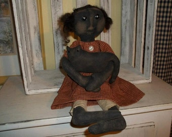 Primitive Handmade Milla Doll and Her Kitty