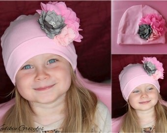 Girl hat with hand made flowers