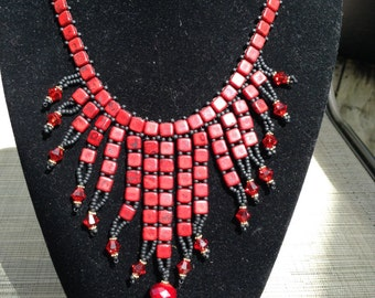 Red Square Necklace and earrings