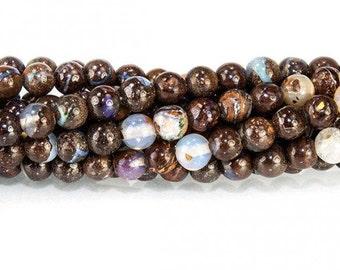Australian Boulder Opal Smooth Round Beads - 5 Beads