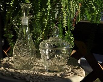 Glass Vinegar and Sugar Set
