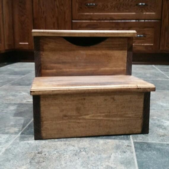 hand made step stool w storage. Black Bedroom Furniture Sets. Home Design Ideas