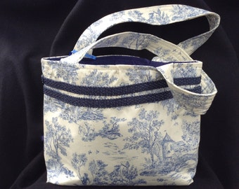 Toille (blue) print handbag
