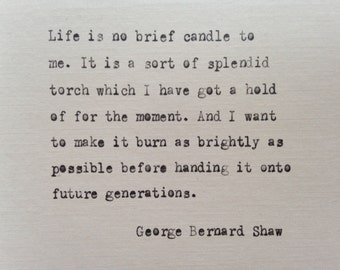 George Bernard Shaw quote hand typed on antique typewriter