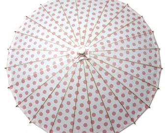 Pink Polka Dot Paper Parasol