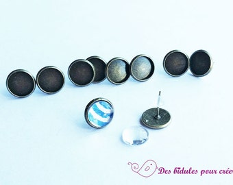 10 bronze ears chipset supports and cabochons 10mm glass