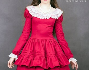 classic lolita red dress gith githic victorian