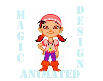 Izzy Pirate Machine Embroidery Design in 2 sizes ---Instant download---