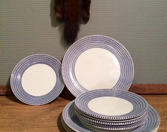 Set of 1960s patterned plates