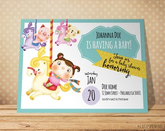 Baby Colorful Invitation - Baby Shower Invite Printable File - Text Customizable