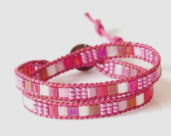 Pink Double Wrap Leather Bracelet, Pink Tile Beads Rasberry Leather and Copper Button