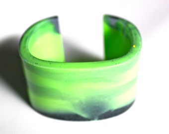 Unique Handmade Luxurious Lime Resin Cuff Bracelet