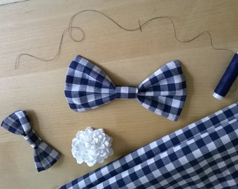 Blue Gingham Bow Barrette