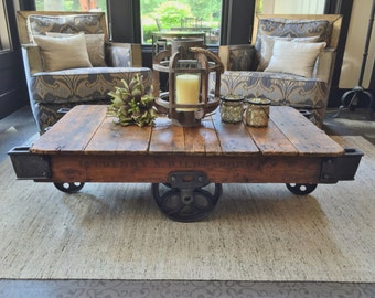 Early 1900's Reclaimed Factory Cart Coffee Table
