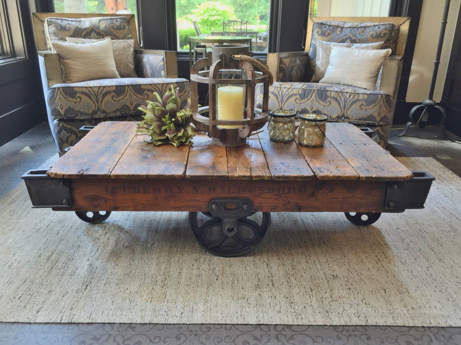 Early 1900 39 s reclaimed factory cart coffee table for Cart coffee table