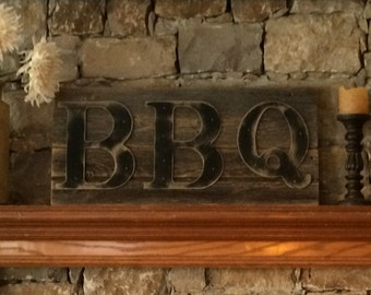 Rustic BBQ Sign on Reclaimed Barn Wood