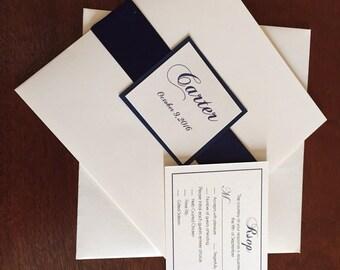 Classic Square Wedding Invitation, Satin ribbon wedding invitation, 7X7 folding card