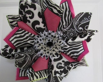 Pink and Black Swirl Wreath