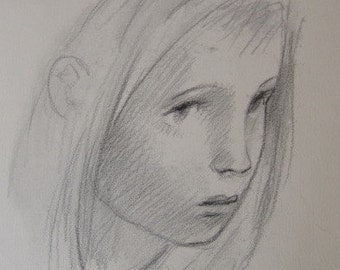Original pencil drawing of a portrait of a girl